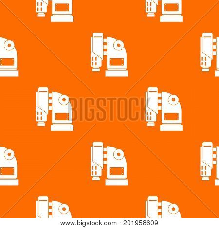 Pneumatic hammer machine pattern repeat seamless in orange color for any design. Vector geometric illustration