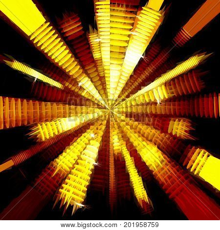 strips of shiny golden circles, abstract background