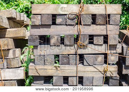 old wooden pallets. Stacks of wooden pallets