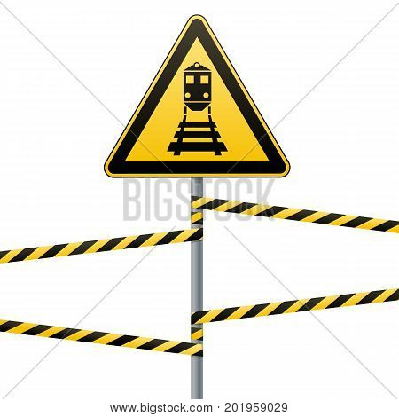 Caution - danger Warning sign safety. Beware of the train. yellow triangle with black image. sign on pole and protecting ribbons. Vector illustration