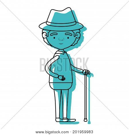 full body grandfather in walking stick with curly hair in blue watercolor silhouette vector illustration