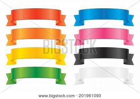 Set of colorful vector ribbons, isolated on white background. Glossy ribbons for yor greeting card design decoration.