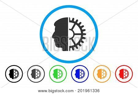 Android Head vector rounded icon. Image style is a flat gray icon symbol inside a blue circle. Bonus color versions are grey, black, blue, green, red, orange.