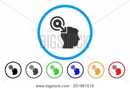 Brain Interface Plug-In vector rounded icon. Image style is a flat gray icon symbol inside a blue circle. Bonus color versions are gray, black, blue, green, red, orange.