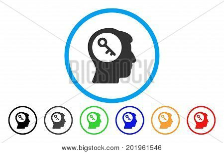 Brain Key vector rounded icon. Image style is a flat gray icon symbol inside a blue circle. Bonus color versions are gray, black, blue, green, red, orange.