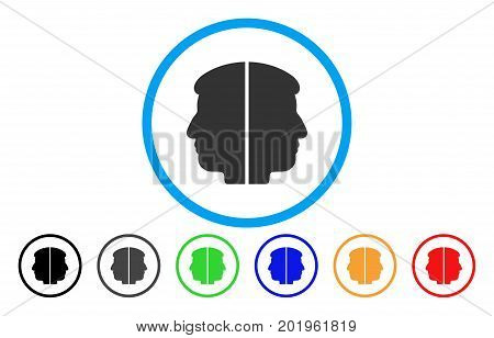 Dual Face vector rounded icon. Image style is a flat gray icon symbol inside a blue circle. Bonus color versions are gray, black, blue, green, red, orange.