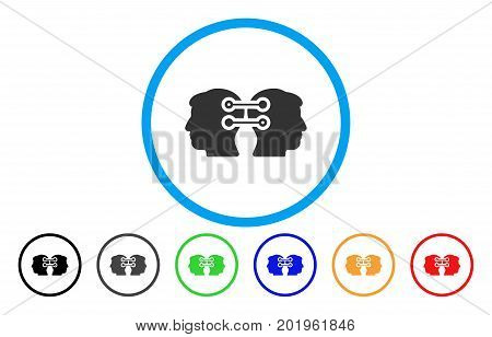 Dual Heads Interface Connection vector rounded icon. Image style is a flat gray icon symbol inside a blue circle. Additional color versions are grey, black, blue, green, red, orange.
