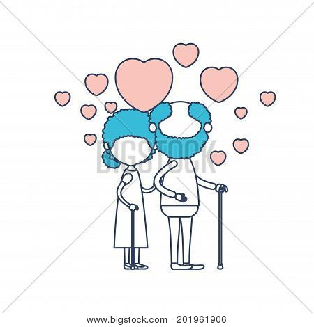 faceless caricature full body elderly couple embraced with floating hearts bearded grandfather in walking stick and grandmother with bun hair in color section silhouette vector illustration