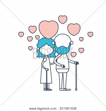 faceless caricature full body elderly couple embraced with floating hearts bearded grandfather in walking stick and grandmother with wavy hair in color section silhouette vector illustration