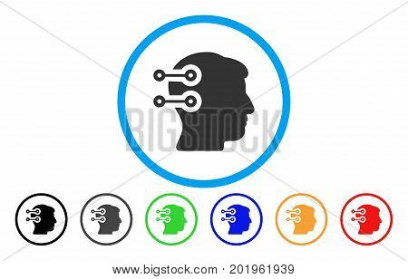 Head Connectors vector rounded icon. Image style is a flat gray icon symbol inside a blue circle. Bonus color variants are grey, black, blue, green, red, orange.