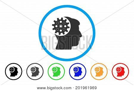 Head Gear vector rounded icon. Image style is a flat gray icon symbol inside a blue circle. Bonus color versions are grey, black, blue, green, red, orange.
