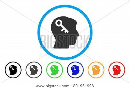 Head Key vector rounded icon. Image style is a flat gray icon symbol inside a blue circle. Additional color variants are grey, black, blue, green, red, orange.