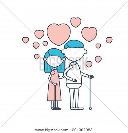 faceless caricature full body elderly couple embraced with floating hearts grandfather with moustache in walking stick and grandmother with straight hair in color section silhouette vector illustration