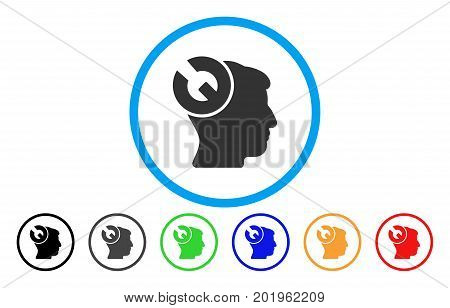 Head Surgery Wrench vector rounded icon. Image style is a flat gray icon symbol inside a blue circle. Additional color variants are grey, black, blue, green, red, orange.