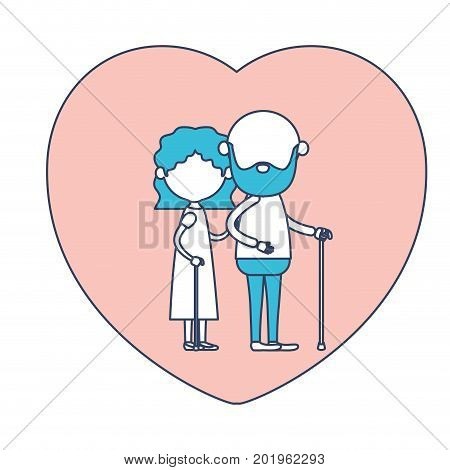 faceless caricature full body elderly couple in heart shape greeting card embraced with bearded grandfather in walking stick and grandmother with wavy hair in color section silhouette vector illustration