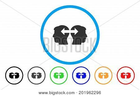 Heads Exchange Arrows vector rounded icon. Image style is a flat gray icon symbol inside a blue circle. Additional color versions are gray, black, blue, green, red, orange.