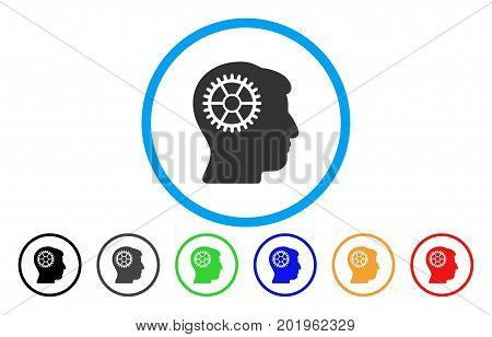 Intellect Cog vector rounded icon. Image style is a flat gray icon symbol inside a blue circle. Bonus color versions are grey, black, blue, green, red, orange.