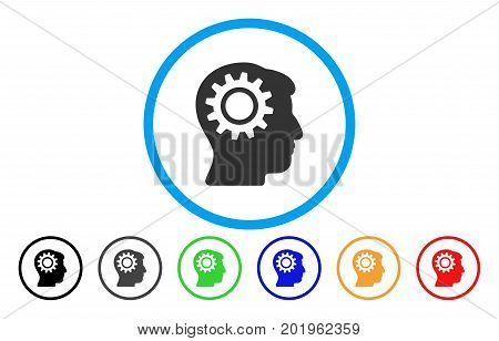 Intellect Gear vector rounded icon. Image style is a flat gray icon symbol inside a blue circle. Additional color variants are gray, black, blue, green, red, orange.