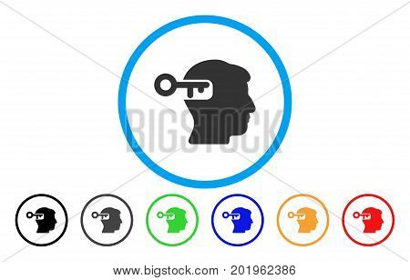 Intellect Key vector rounded icon. Image style is a flat gray icon symbol inside a blue circle. Additional color variants are grey, black, blue, green, red, orange.
