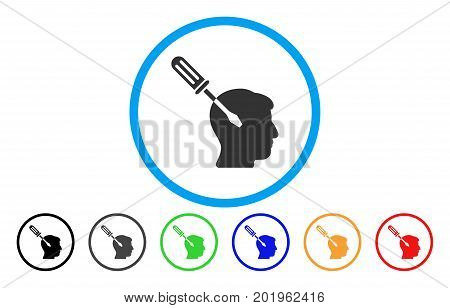 Intellect Screwdriver Tuning vector rounded icon. Image style is a flat gray icon symbol inside a blue circle. Additional color variants are grey, black, blue, green, red, orange.