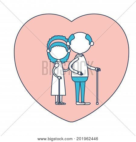 faceless caricature full body elderly couple in heart shape greeting card embraced with grandfather with glasses in walking stick and grandmother with bow lace and curly hair in color section silhouette vector illustration