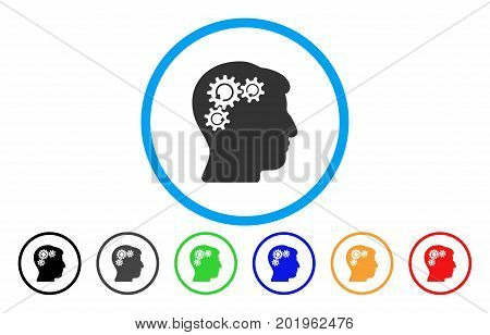 Mind Gear Rotation vector rounded icon. Image style is a flat gray icon symbol inside a blue circle. Bonus color variants are gray, black, blue, green, red, orange.