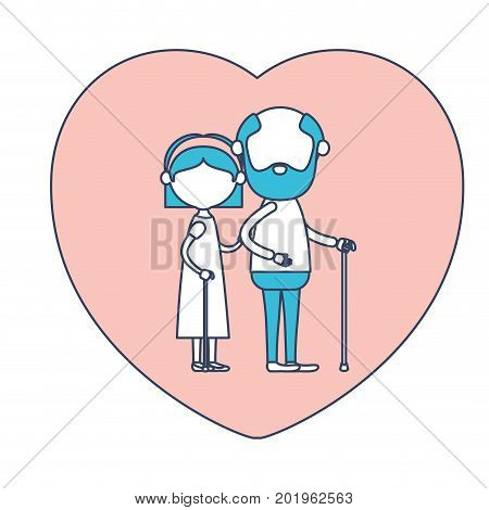 faceless caricature full body elderly couple in heart shape greeting card embraced with grandfather in walking stick and grandmother with bow lace and straight hair in color section silhouette vector illustration