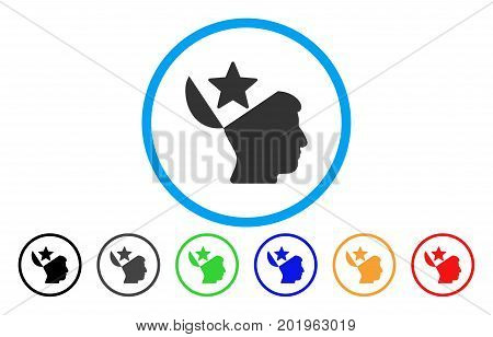 Open Head Star vector rounded icon. Image style is a flat gray icon symbol inside a blue circle. Additional color versions are grey, black, blue, green, red, orange.