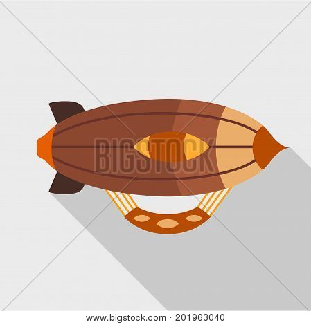 Brown airship icon. Flat illustration of brown airship vector icon for web