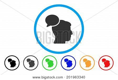 Person Idea vector rounded icon. Image style is a flat gray icon symbol inside a blue circle. Bonus color variants are gray, black, blue, green, red, orange.