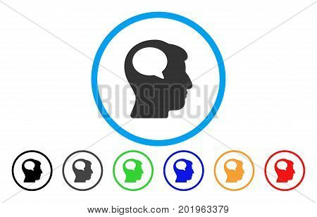 Person Thinking vector rounded icon. Image style is a flat gray icon symbol inside a blue circle. Bonus color variants are grey, black, blue, green, red, orange.