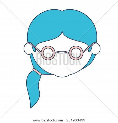 faceless caricature elderly woman with glasses and side ponytail hairstyle with glasses in color section silhouette vector illustration