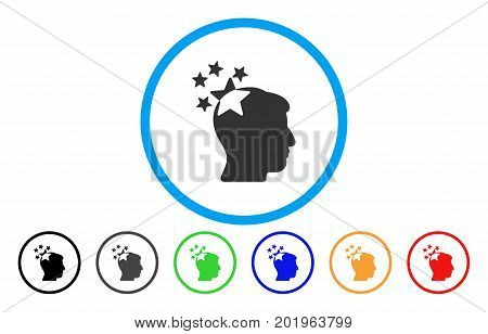 Stars Hit Head vector rounded icon. Image style is a flat gray icon symbol inside a blue circle. Additional color versions are gray, black, blue, green, red, orange.