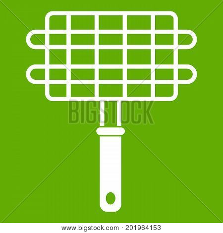 Stainless barbecue grill camping basket icon white isolated on green background. Vector illustration