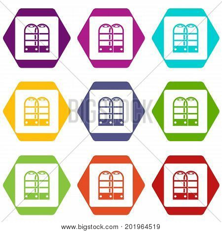 Shop security anti theft sensor gates icon set many color hexahedron isolated on white vector illustration