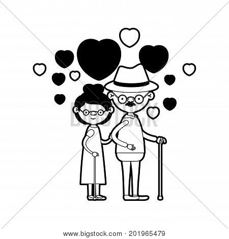 caricature full body elderly couple embraced with floating hearts grandfather with hat in walking stick and grandmother with collected hair and glasses in black silhouette sections vector illustration