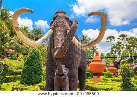 PATTAYA, THAILAND - MARCH 2013: Mammoth statue in Nong Nooch Garden