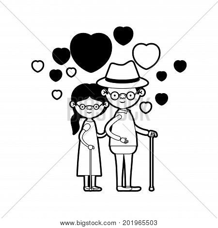 caricature full body elderly couple embraced with floating hearts grandfather with hat in walking stick and grandmother with side ponytail hair and glasses in black silhouette sections vector illustration
