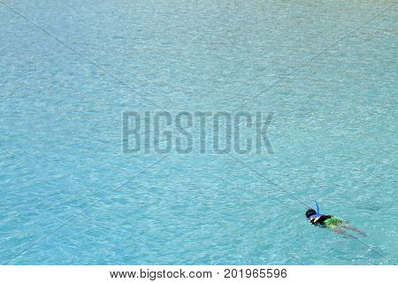 Japanese Boy Swimming With Snorkel (second Grade At Elementary School)