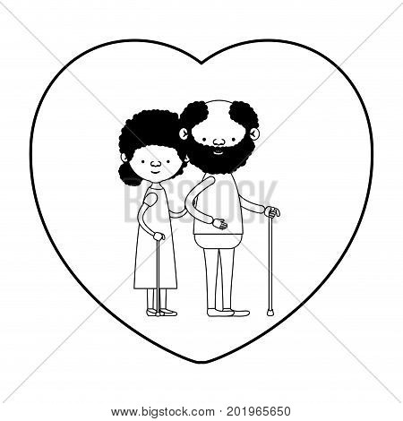 caricature full body elderly couple in walking stick with heart shape greeting card bearded grandfather in walking stick and grandmother with curly bun hair in black silhouette sections vector illustration