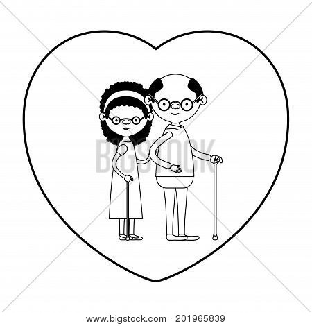 caricature full body elderly couple in walking stick with heart shape greeting card grandfather with glasses in walking stick and grandmother with bow lace and curly hair in black silhouette sections vector illustration