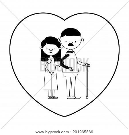 caricature full body elderly couple in walking stick with heart shape greeting card grandfather with moustache and grandmother with straight hair in black silhouette sections vector illustration