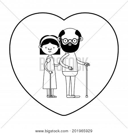caricature full body elderly couple in walking stick with heart shape greeting card grandfather with grandmother with bow lace and straight hair in black silhouette sections vector illustration
