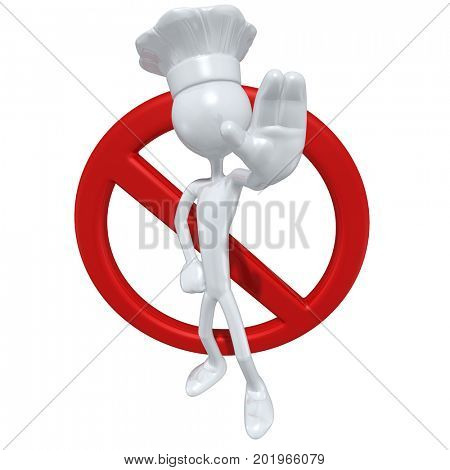 The Original 3D Character Chef Illustration With A No Symbol