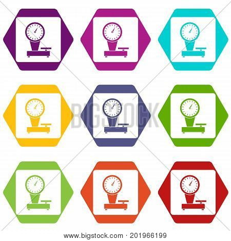 Weight scale icon set many color hexahedron isolated on white vector illustration