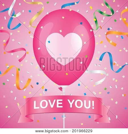 Heart printed pink ballon with ribbon and colorfull confetti on a pink background. Romantic greeting card vector design.