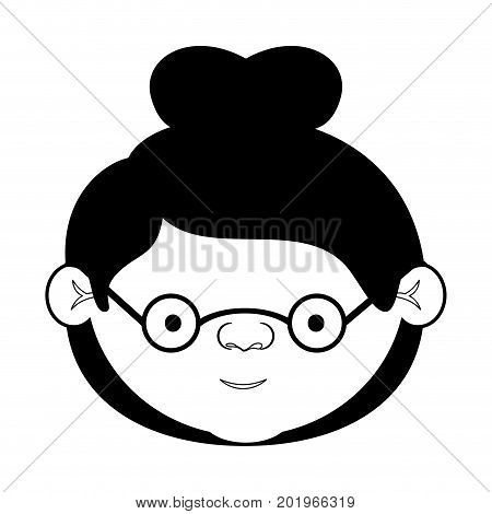 caricature face grandmother with a bun hair and glasses in black silhouette sections vector illustration