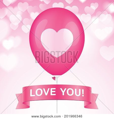 Heart printed pink ballon with ribbon on a pink bokeh background. Romantic greeting card vector design.