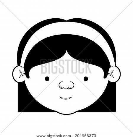 caricature face grandmother with a bow lace with straight short hair and glasses in black silhouette sections vector illustration