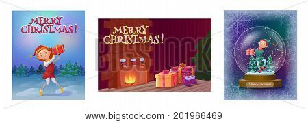 Christmas greeting cards collection with elf girl in snow globe, elf boy in the woods and cozy interior with gifts and tree, cartoon characters set, winter holidays background, vector illustration